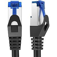 KabelDirekt - 25m - Cable de red, cable Ethernet y Lan - (transmite hasta 1 Gigabit por segundo y es adecuado para switches, routers, módems con entrada RJ45, negro-plata)