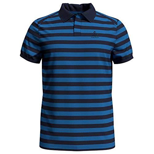 Odlo Polo Concord pour Homme, Bleu Marine à Rayures, L