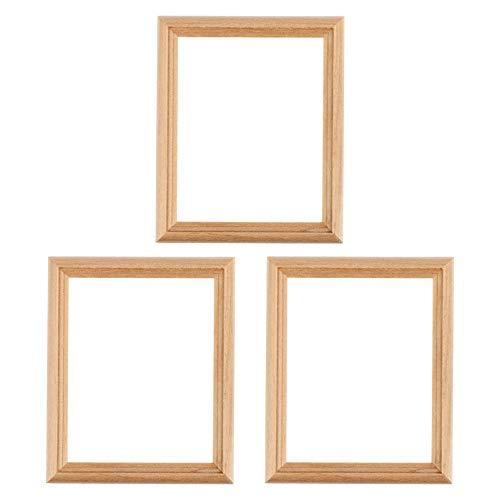 HEALLILY 3 Piezas Mini Marco de Fotos Muebles de Madera Casa de Muñecas Mini Marco de Fotos sin Terminar Modelo de Pintura de Arte Juguetes para Accesorios de Fotos de Habitación 1/12