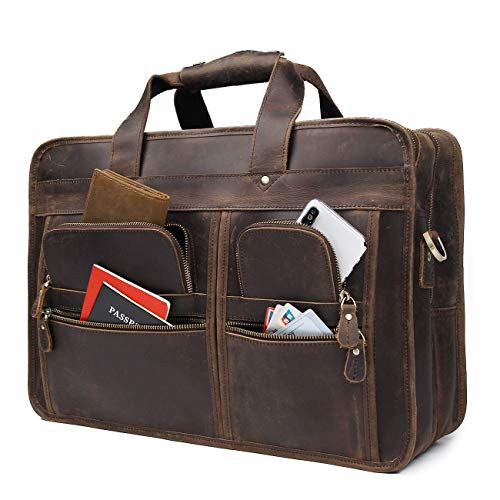 Augus 17 inch Full Grain Leather Laptop Briefcases for Men Business Travel Messenger Bag with YKK Metal Zipper Brown