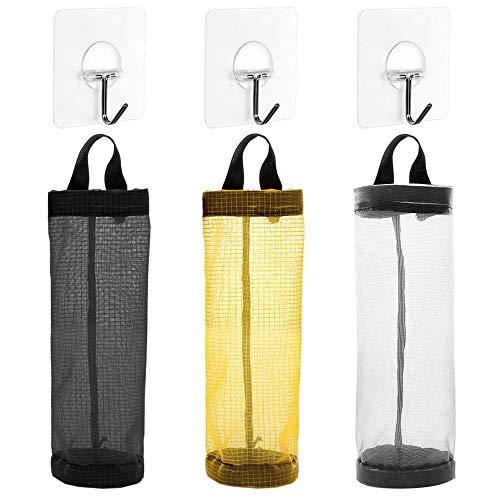3 piezas Organizador de Bolsas Hanging Mesh Rubbish con 3 ganchos, Portavasos Innovador Plegable, Bolsas de plástico Transparente, Dispensador de Bolsas de Basura para Cocina