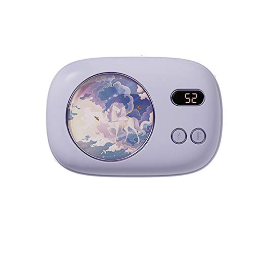 Stool Power Bank Charger Girls Mini Hand Warmer Portable Battery Pack 10000Mah LED Display Emergency Mobile External Battery Compatible Smartphone Tablet Best Gift for Girlfriend,Purple
