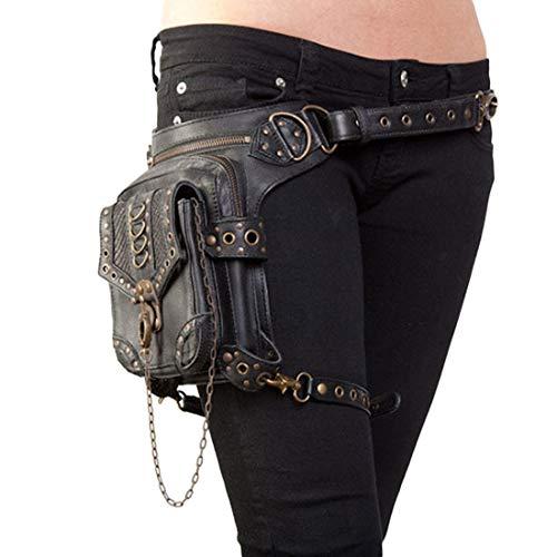 Yhui Geschenktüten Mode Tasche Rock Style Gothic PU Leder Steampunk Handtasche Hüftbein Pack Vintage Punk Schulter Messenger Bag (Farbe : Photo Color)