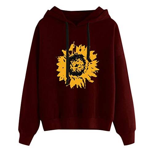 Auiyut Damen Herbst Pullover Sweatshirts Mode Rundkragen Kapuzenpullover mit Sonnenblumendruck Tops Bluse Tunika Oberteile