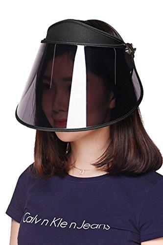 GOKEI_CO サンバイザー レディース レインハット レインバイザー 【アームカバー付き】 自転車 キャップ UVカット UPF50+ 紫外線対策 日焼け対策 つば広 ワイド 帽子 ブラック