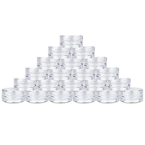 60Pcs 3 Gram Plastic Cosmetic Containers with Lids for Lotion, Creams, Toners, Lip Balms, Makeup Samples Jars BPA free (3g-60pcs, clear)