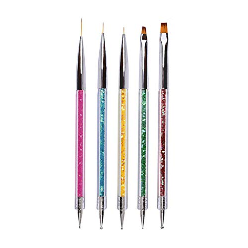 Ebanku 5 Stück Nagel Pinsel Set Punktierung Stift, Nail Art Dotting Pen Tools Nail Art Liner Nageldesign Kit Nagel Kunst Bürste Kit