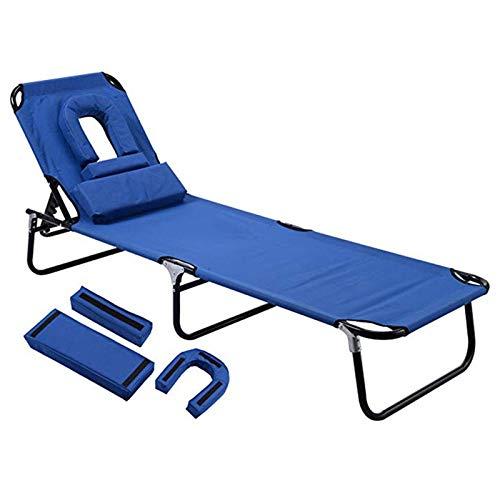 tayer Tumbona Plegable de Jardín con Almohada y Agujero de Lectura,Sillas Gravedad Cero reclinables, para el reclinable al Aire Libre de la Playa del jardín (Azul)