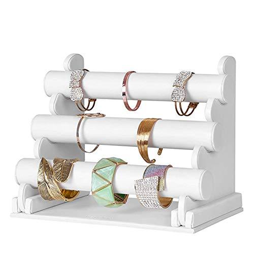 MHXQD Organizador De Pulseras 3 Niveles Exibidor para Joyas con Barras Desmontables Expositor De Terciopelo para Pulseras Brazaletes Gargantillas Y Relojes,Blanco