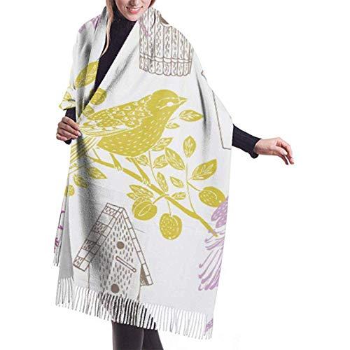 Womens Winter grote sjaal kasjmier sjaal gevoel vogelhuisjes vogels sjaal stijlvolle sjaal wraps zachte warme deken sjaal voor vrouwen 27x78 inch