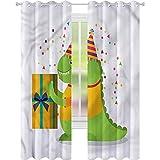 jinguizi Cortina de ventana drapeada para fiesta de dinosaurios feliz cumpleaños W52 x L84 cortinas opacas para dormitorio de los niños