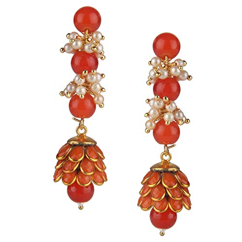 Gold Tone Indian Bollywood Ethnic Designer Red Jhumka Jhumki Earrings Jewellery for Girls/Women