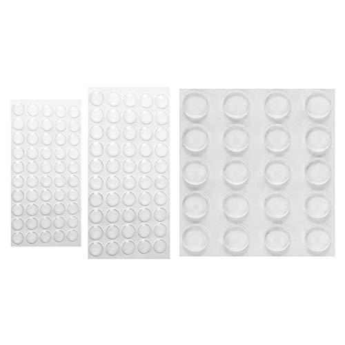 WIFUN 120 Stück Elastikpuffer Transparent, 3 Größen Selbstklebend Schutzpuffer Gummipuffer Anschlagdämpfer Türpuffer Stoßfänger für Tür Küchenschränken Toilettendecke Schubladen