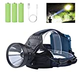 Professional Rechargeable Headlamp Flashlights, 10000 Lumens LED Headlamps for Adults, with Adjustable Head Lamp, IPX5 Waterproof, 4 Light Modes, Red Warn Light, Perfect for Running/Fishing/Outdoors