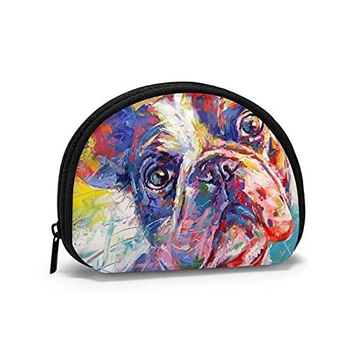 Color Art Bulldog francés encantador impreso temático cambio monedero lindo Shell almacenamiento bolsa niña carteras Bule monederos clave bolsa Gifys mujer novedad