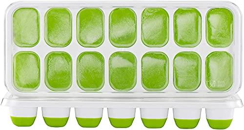 TOPELEK 14-Fach Eiswürfelform Silikon Eiswuerfel Mit Deckel Tray Ice Cube, Kühl Aufbewahren, LFGB Zertifiziert, Grün (2er Pack)