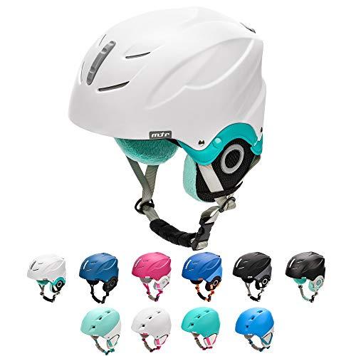 meteor Casco de Esquí y Snowboard para Niños Niñas Helmet para Jóvenes y Adultos (M 55-58 cm, LUMI Blanco/Menta)