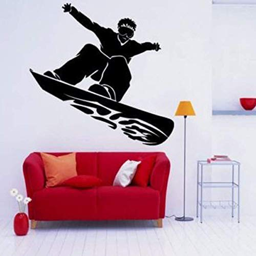 Snowboard Guy Dude Tattoo Wandaufkleber Für Schlafzimmer Jungen Wohnkultur Wandtattoos Sport Room Wallpaper Vinyl Aufkleber 59X57 Cm