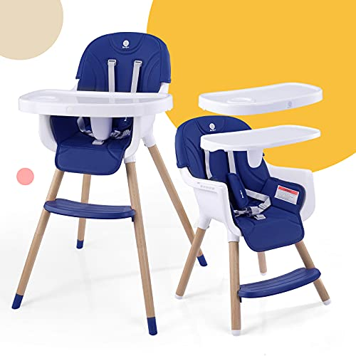 3 in 1 Baby High Chair,Adjustable Convertible Wooden High Chair with Fastened Structure,Baby Chair with Removable Easy Clean 2 Big Trays,Ideal for Baby Girl or Boy,CPC & ASTM Certifications (Blue)