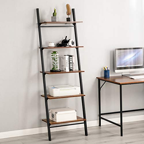 MELLCOM 5 Tier Leaning Shelf Industrial Ladder Shelf, Wood Modern Bookshelf with Metal Frame,Wall-Mounted Bookcase Plant Flower Storage Stand Organizer for Living Room, Bathroom, Kitchen,Balcony