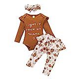 3PCS Infant Baby Girls Clothes Long Sleeve Romper Bodysuit Floral Bowkont Harem Long Pants Headband Outfits 0-24M
