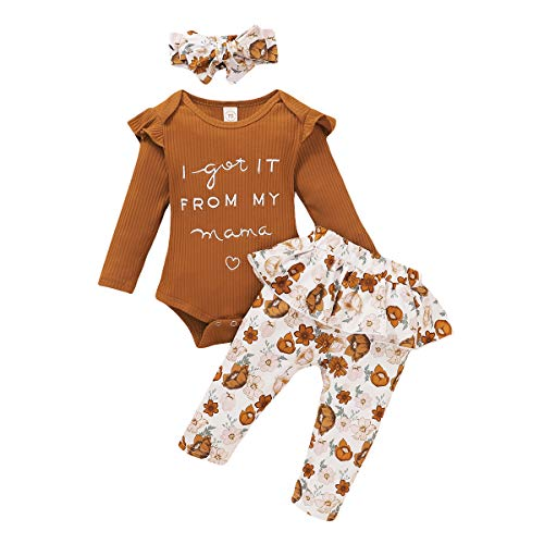 3PCS Newborn Infant Baby Girls Clothes Ruffle Sleeves Mustard Yellow Romper+Floral Skirt Pants +Headband Outfits Fall (0-6 Months, Mustard Yellow Romper+Floral Skirt Pants Set)