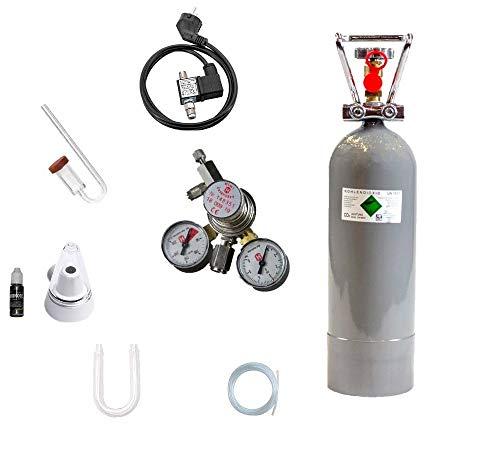 Hiwi CO2 Anlage 2000 Profi Deluxe Magnetvetil Nachtabschaltung, Acrylglas Komponenten, Druckminderer (Made in Germany), 2 KG CO2 Mehrwegflasche, gefüllt, NEU