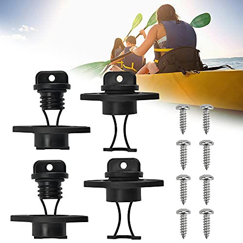 PERFETSELL 4 PCSUniversalHull Drain Stopper Black Plastic Kayak Drain Plug CanoeBoat Drain Holes Plugs BungReplacement Accessories with 8 PCS M515mm Screws for Dinghy Kayak Canoes Boat