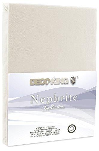 DecoKing 18521 80×200-90×200 cm Spannbettlaken Creme 100% Baumwolle Jersey Boxspringbett Spannbetttuch Bettlaken Betttuch Cream Nephrite Collection - 2