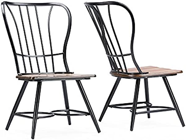 Baxton Studio Longford Dark Walnut Wood And Black Metal Vintage Industrial Dining Chair Set Of 2