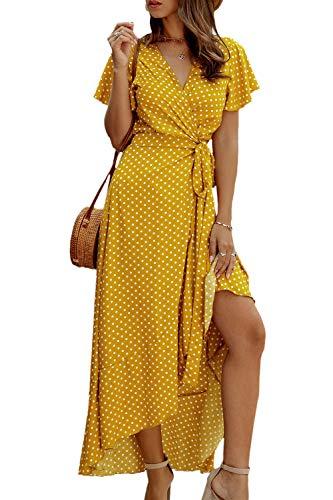 Vestido Casual de Verano para Mujer Vestidos de Playa Largos con Lunares Vintage Amarillo S