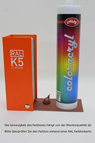Maleracryl, im gewünschtem Farbton, rissfrei da kein Anstrich nötig, Acryl Dichtstoff, farbig (RAL 8004 Kupferbraun)