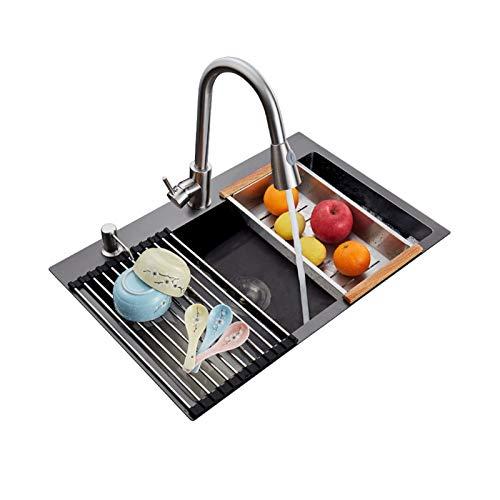 TONGSH Fregadero, fregadero de la cocina de acero inoxidable nano, caída de montaje superior, lavabo de un solo recipiente. (Size : 60 * 45cm)