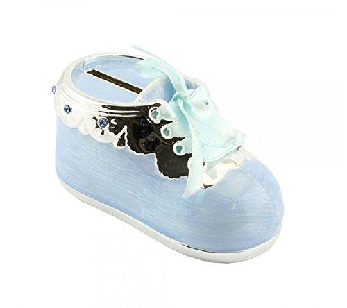 Wunderschöne Spardose Babyschuh versilbert mit Emaille - blau - ideal als Geschenk zur Geburt oder Taufe