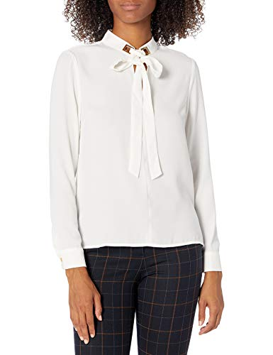 Tahari ASL Women's Tie Neck Long Sleeve Blouse with Hardware, Ivory, X-Large Petite