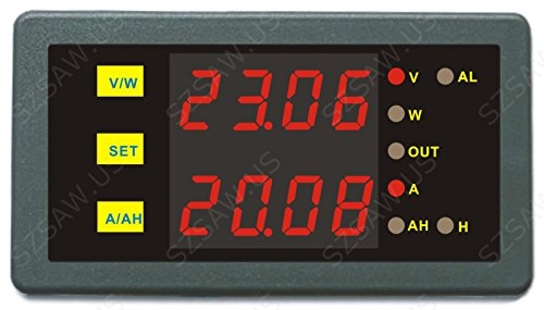 AILI Programable Digital Dual Display 90V 250A Combo Medidor Voltaje Amp Potencia Ah Hora Meter Prueba Azul