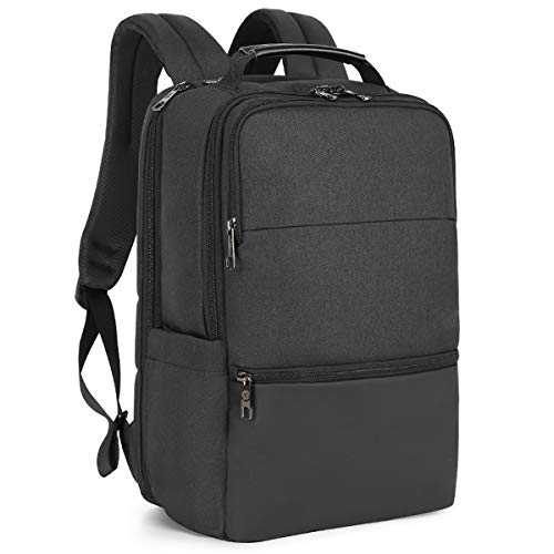 BRAZT Laptop Backpack, Business Work Travel Rucksack with USB Charging Port, Large Anti-Theft Computer Daypack for Men Women,Black,15.6'