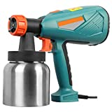 MIAOKU Pistola Pulverizadora Eléctrica, con Contenedor de Pintura de Aluminio y Boquillas de Latón, 3 Modos De Pulverización, para Pintar Coches, Techos, Paredes