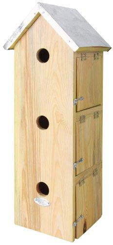 Esschert Design Nistkasten, Vogelhaus Spatzenvilla mit 3 Eingänge, ca. 20 cm x 17 cm x 51 cm