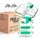 EOK Meal Prep Frischhaltedosen Boxen aus Glas mit dichten getrennten Kammern (4er Set à 1040ml) - Dichte Glasdosen mit Deckel (2er & 3er-Trennung) - BPA-frei & dicht