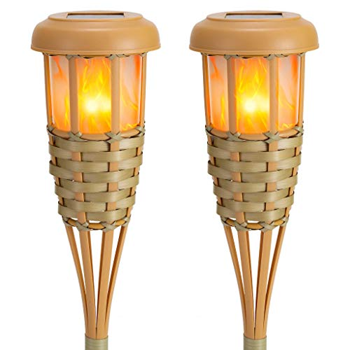 Lapsnail Flickering Flames Torch Solar Lights Handmade Bamboo Outside Flame Lighting Waterproof for Path, Garden, Outdoor Decoration