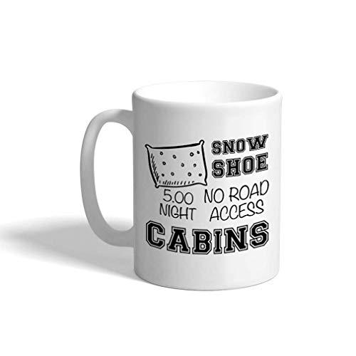 N\A Taza de café Personalizada de 11 onzas, Solo diseño de Taza de té de cerámica y cabañas para Raquetas de Nieve.