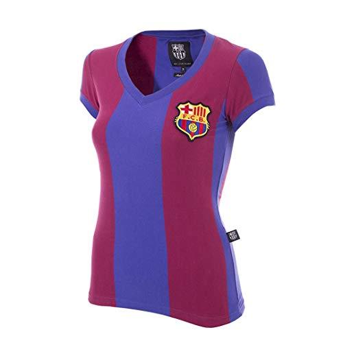 Copa FC Barcelona 1976-77 - Camiseta con Cuello en V para Mujer, Spanish Football, FC Barcelona 1976-77 - Camiseta de fútbol para Mujer, Mujer, Color Azul/Rojo, tamaño S