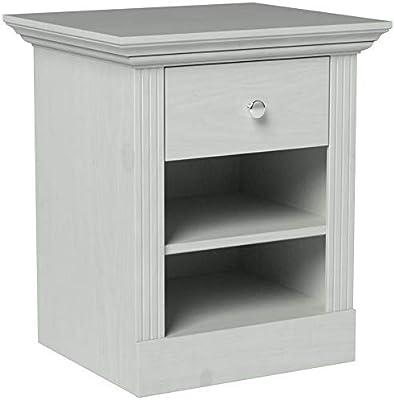 Steens Furniture Monaco Table de Chevet, pin, Haut : Blanc, 47x56x62 cm