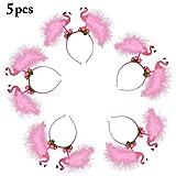 Flamingo Stirnbänder, FunPa 5 Stück Party Stirnbänder Rosa Haarschmuck Feder Bopper Stirnband Blume Haarband für Kinder Mädchen Frauen...