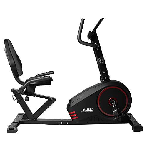 JLL RE200 Recumbent Home Exercise Bike. 11lbs Bi-Directional Flywheel with 8 Levels of Magnetic Resistance. 6 - Levels of Seat Adjustments, 7 Function Monitor Display 12 - Months Warranty.