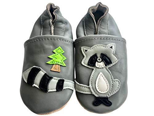 ENGEL + PIRATEN Krabbelschuhe MARKENQUALITÄT - VIELE Modelle bis 4 Jahre Babyschuhe Leder Lauflernschuhe Lederpuschen (20/21 EU, Waschbär)