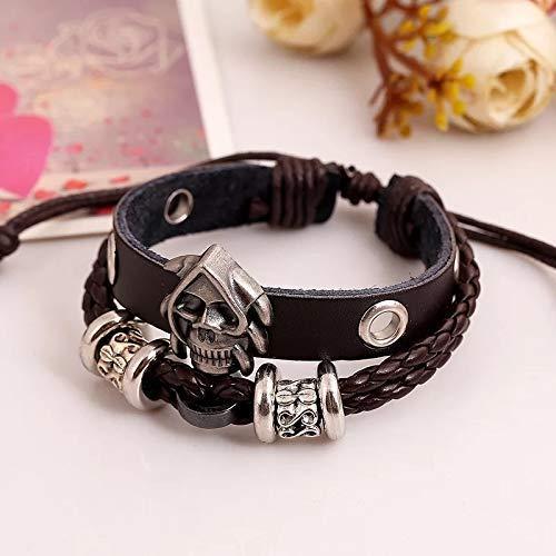 Armband Totenkopf Herren aus hochwertigem Echtleder mit Edelstahl Skull Schwarz Silber