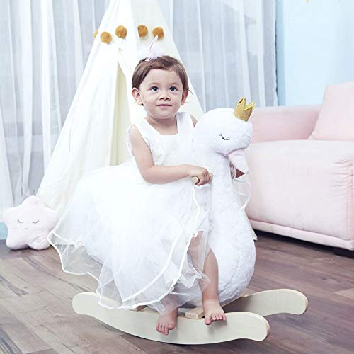 HYY Baby rocking horse, wooden rocking horse, plush white rocking horse, swan rocking horse, suitable for babies from one to 3 years old, toddler toys, animal rocking horse, white (Color : White1)