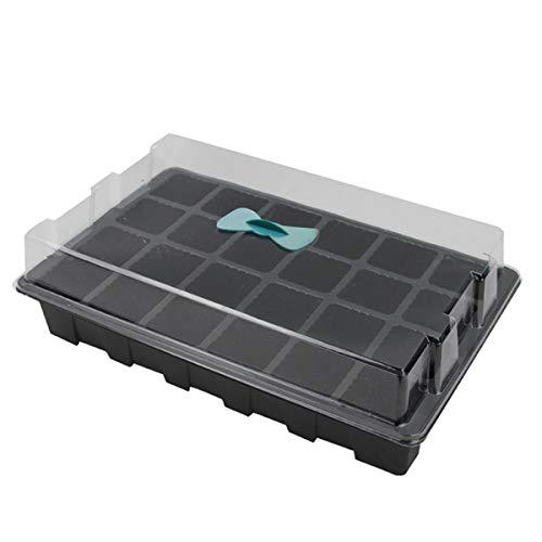 HelloCreate Gartengewächshaus-Keimlingsschale 24-Zellen-Keimlingsschalen-Set Pflanzenvermehrungs-Aufzuchtschale mit Deckel für Gartengewächshaus
